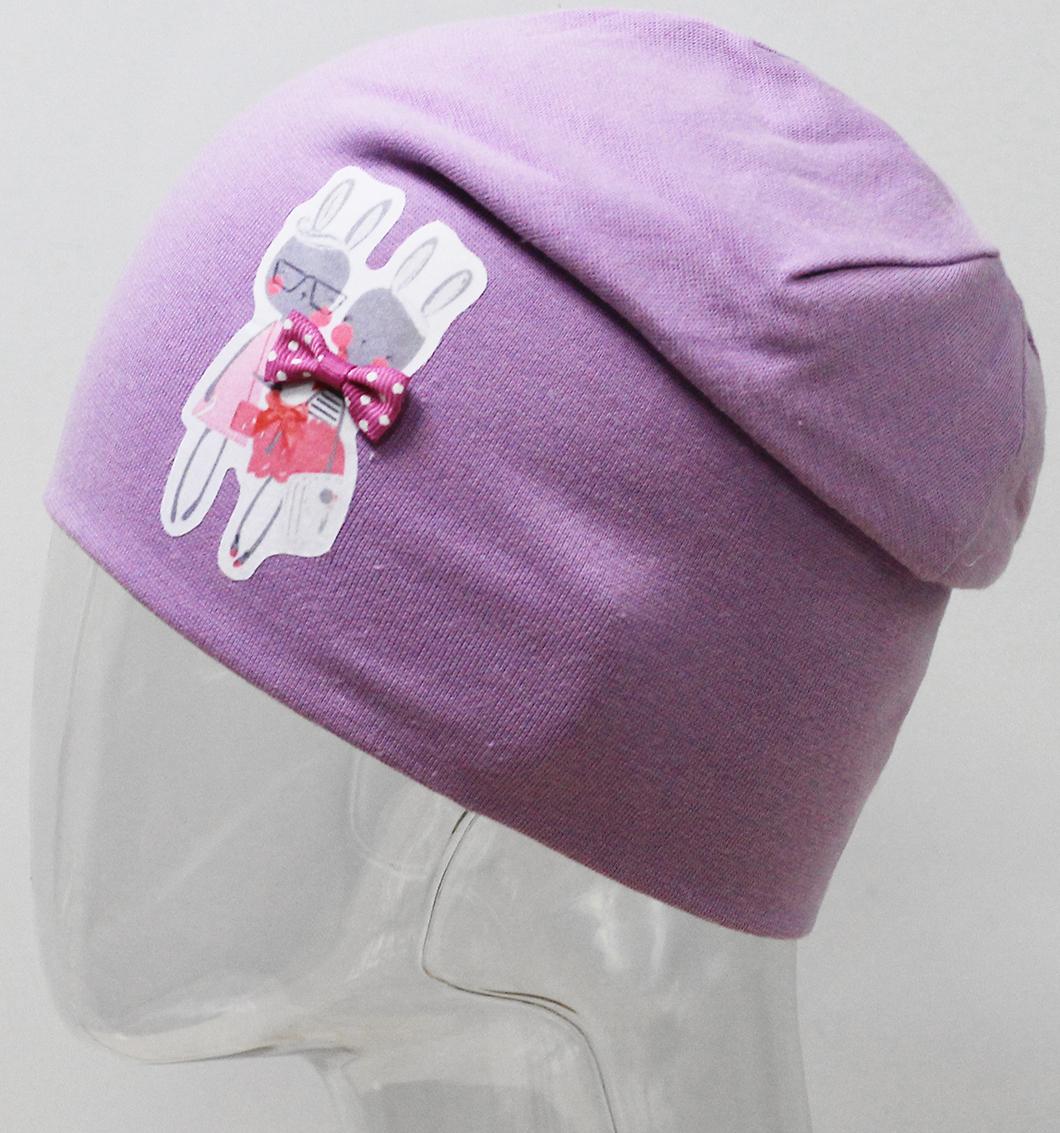 Шапка для девочки Marhatter, цвет: фиолетовый. MFH7440/5. Размер 55/56MFH7440/5Двойная шапка удлиненной формы из хлопка с небольшим содержанием лайкры. Прекрасно подойдет стильным и современным модницам. Размер, доступный для заказа, является обхватом головы.