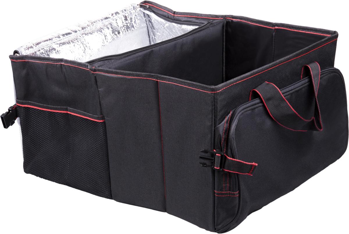 Органайзер автомобильный Ritmix RAO-1203, цвет: черный, 50 х 37 х 26 см15119296Большой вместительный органайзер в багажник подходит для любых автомобилей.Предназначен для размещения и хранения различных предметов и автомобильныхпринадлежностей в багажнике автомобиля. В органайзере предусмотрены ручки дляпереноски. Есть отдельный термоотсек на молнии, одно большое открытоеотделение, карман на молнии и сетчатый наружный карман. Также имеются липучкипротив скольжения по полу багажника.