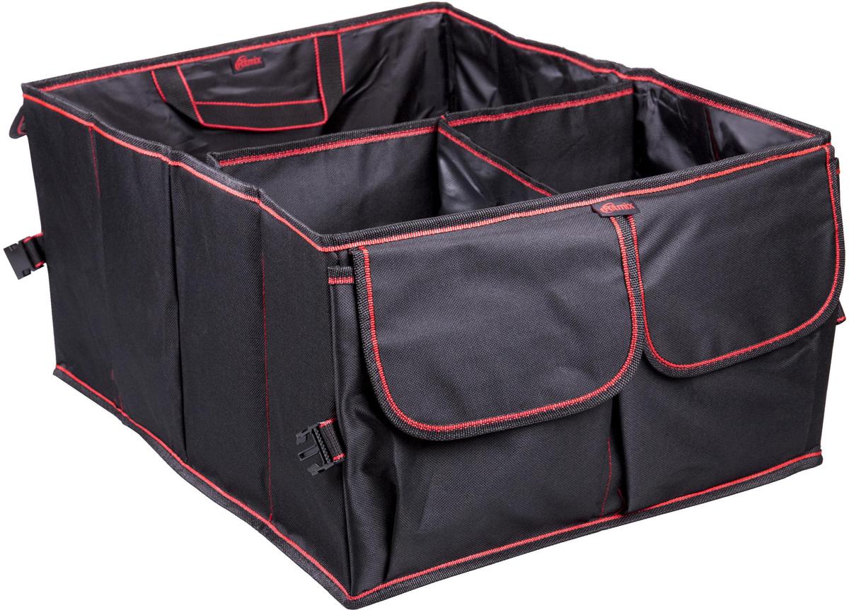 Органайзер автомобильный Ritmix RAO-0539, цвет: черный, 59 x 39 x 26 см15119297Большой вместительный органайзер в багажник подходит для любых автомобилей.Предназначен для размещения и хранения различных предметов и автомобильныхпринадлежностей в багажнике автомобиля. В органайзере предусмотрены ручки для переноски.Есть два больших крытых кармана, три больших трансформируемых отделения на липучках.Также имеются липучки против скольжения по полу багажника.