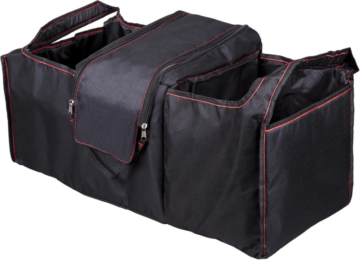 Органайзер автомобильный Ritmix RAO-1081, цвет: черный, 70 х 34 х 33 см15119300Большой вместительный органайзер в багажник подходит для любых автомобилей.Предназначен для размещения и хранения различных предметов и автомобильныхпринадлежностей в багажнике автомобиля. В органайзере предусмотрены ручки для переноски.Есть два больших открытых отсека и центральный отсек с клапаном на молниях.
