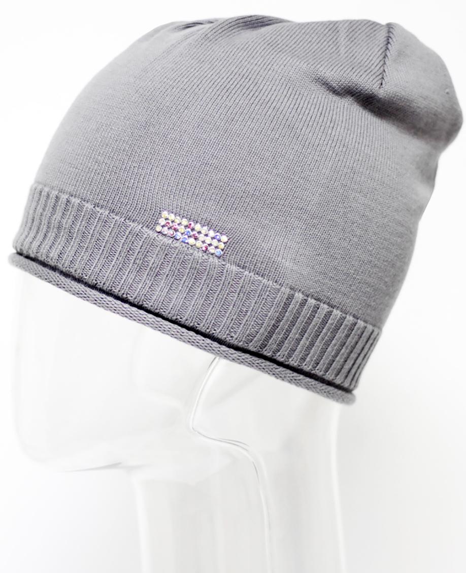 Шапка для девочки Marhatter, цвет: серый. MFH5600. Размер 55/56MFH5600Стильная шапка из хлопка. Изделие украшено нашивкой со стразами. Отлично подойдет для ежедневных прогулок. Размер, доступный для заказа, является обхватом головы.
