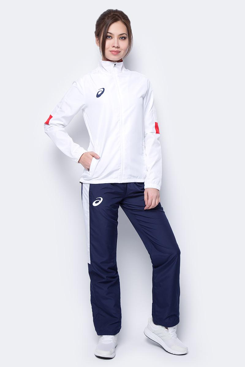 Костюм спортивный женский Asics Woman Lined Suit: куртка, брюки, цвет: белый, синий. 156864-0001. Размер XXL (52) костюм спортивный женский asics woman lined suit куртка брюки цвет синий 156864 0805 размер xs 42