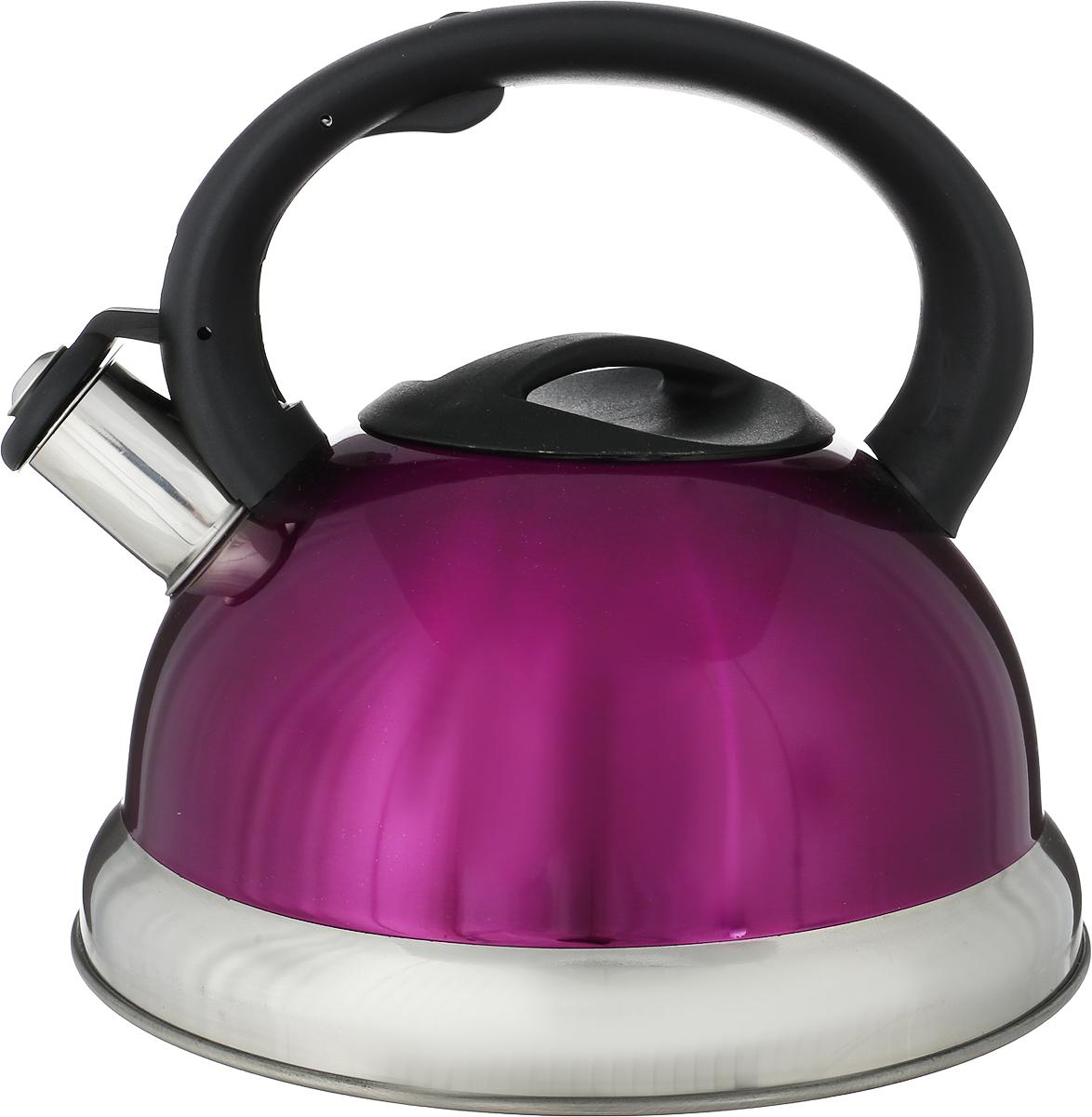 Чайник Bohmann, со свистком, цвет: фиолетовый, 3,5 л872 - BHLR/P/B_фиолетовыйЧайник Bohmann изготовлен из нержавеющей хромоникелевой стали с матовой полировкой.Высококачественная сталь представляет собой материал, из которого в течение нескольких десятилетий во всеммире производятся столовые приборы, кухонные инструменты и различные аксессуары. Этот материал обладаетвысокой стойкостью к коррозии и кислотам. Прочность, долговечность и надежность этого материала, а такжепервоклассная обработка обеспечивают практически неограниченный запас прочности и неизменнопривлекательный внешний вид.Чайник оснащен фиксированной удобной ручкой из бакелита черного цвета. Ручка не нагревается, чтопредотвращает появление ожогов и обеспечивает безопасность использования. Носик чайника имеет откиднойсвисток для определения кипения.Можно использовать на всех типах плит, кроме индукционных. Можно мыть в посудомоечной машине.Диаметр (по верхнему краю): 9 см. Высота чайника (без учета ручки): 12 см. Высота чайника (с учетом ручки): 20,5 см. Диаметр основания: 20 см.