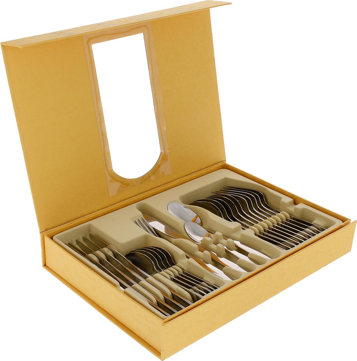 Набор столовых приборов Mayer & Boch, 24 предмета. 2646026460Набор столовых приборов Mayer & Boch включает 24 предмета: 6 обеденных ножей, 6 обеденных ложек, 6 обеденных вилок, 6 чайных ложек. Изделия выполнены из прочной хромоникелевой нержавеющей стали.Столовые наборы из нержавеющей стали такого состава отличаются высокими антикоррозионными свойствами, значительной устойчивостью к воздействию кислот и щелочей. Не изменяют вкус и цвет пищи, не выделяют вредных веществ.Одним из важных этапов изготовления столовых приборов является полировка, от ее качества зависит гигиеничность предметов. Элегантные золотые узоры на ручках приборов выполнены по технологии плазменного напыления, обеспечивающего высокую износостойкость покрытия.Стильный, лаконичный дизайн и отличное качество делают набор столовых приборов Mayer & Boch желанной покупкой для любого, даже самого пристрастного клиента. Можно мыть в посудомоечной машине.Длина столовой ложки/вилки: 20 см.Длина чайной ложки: 14 см.Длина ножа: 22,5 см.