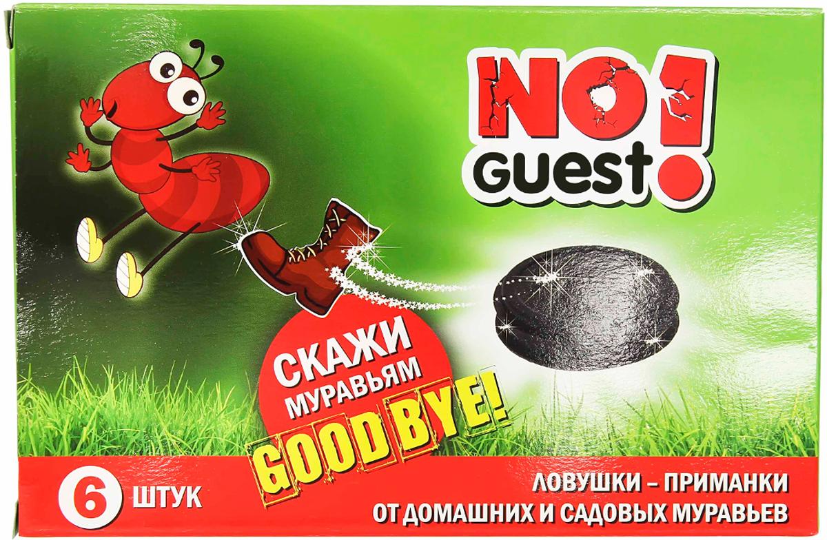 """Ловушка для садовых и домашних муравьев """"NoGuest!"""" представляет собой приманку, помещенную внутрь специальных дисков-контейнеров. Входящее в состав приманки активное действующее вещество (АДВ) поступает непосредственно в кишечник насекомого, что ускоряет его действие и приводит насекомое к гибели через 8 часов после поедания. В упаковке 6 штук."""