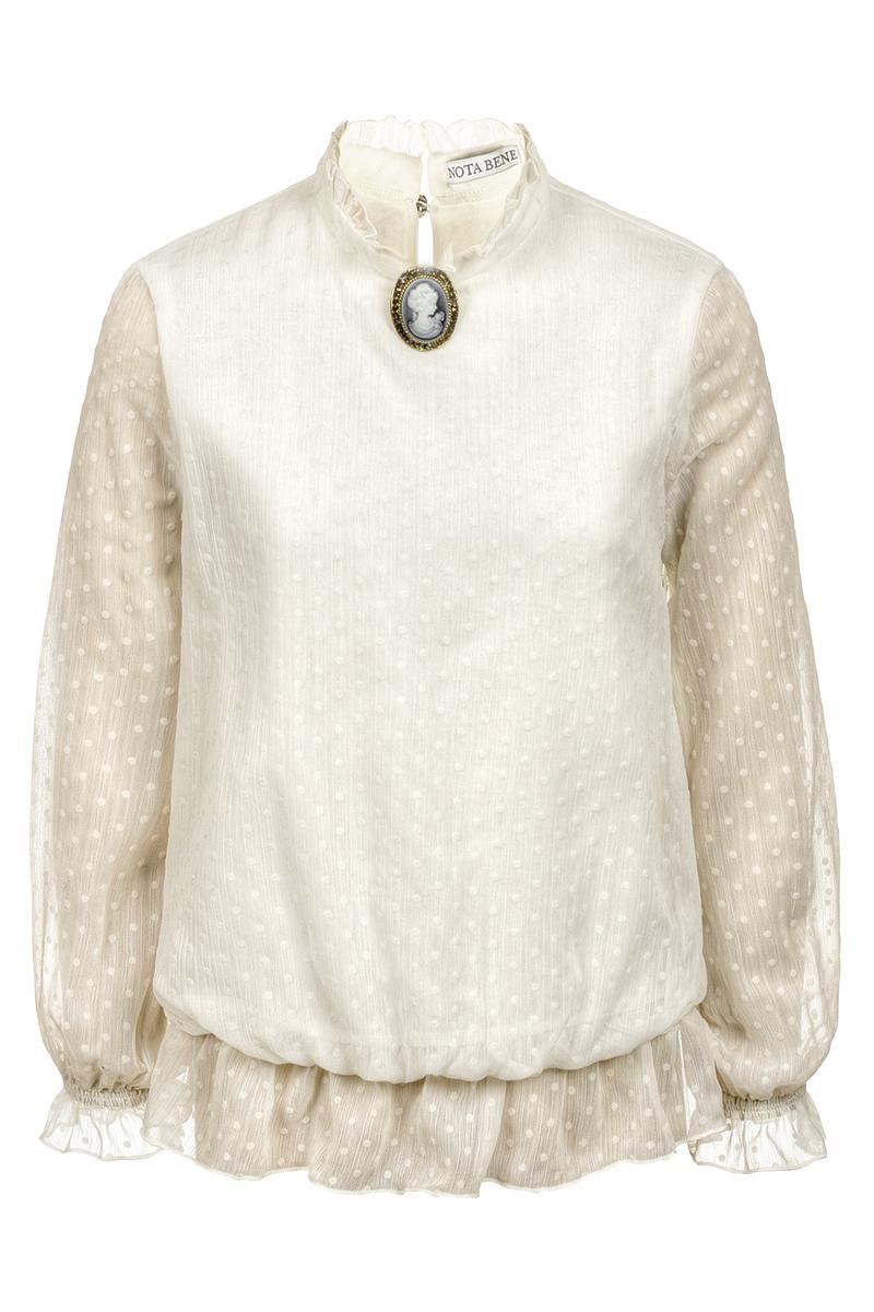 Блузка для девочек Nota Bene, цвет: молочный. 18123070117_17. Размер 164 платье tutto bene tutto bene tu009ewzwn18