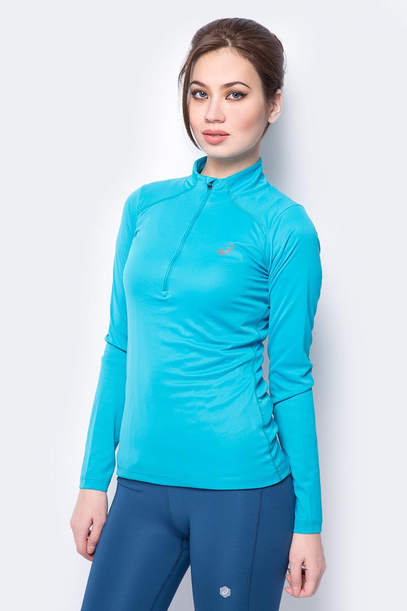 Лонгслив женский Asics LS 1/2 Zip Top, цвет: бирюзовый. 134108-8098. Размер XL (50) лонгслив мужской asics ls 1 2 zip jersey цвет темно синий 154589 1273 размер xl 50