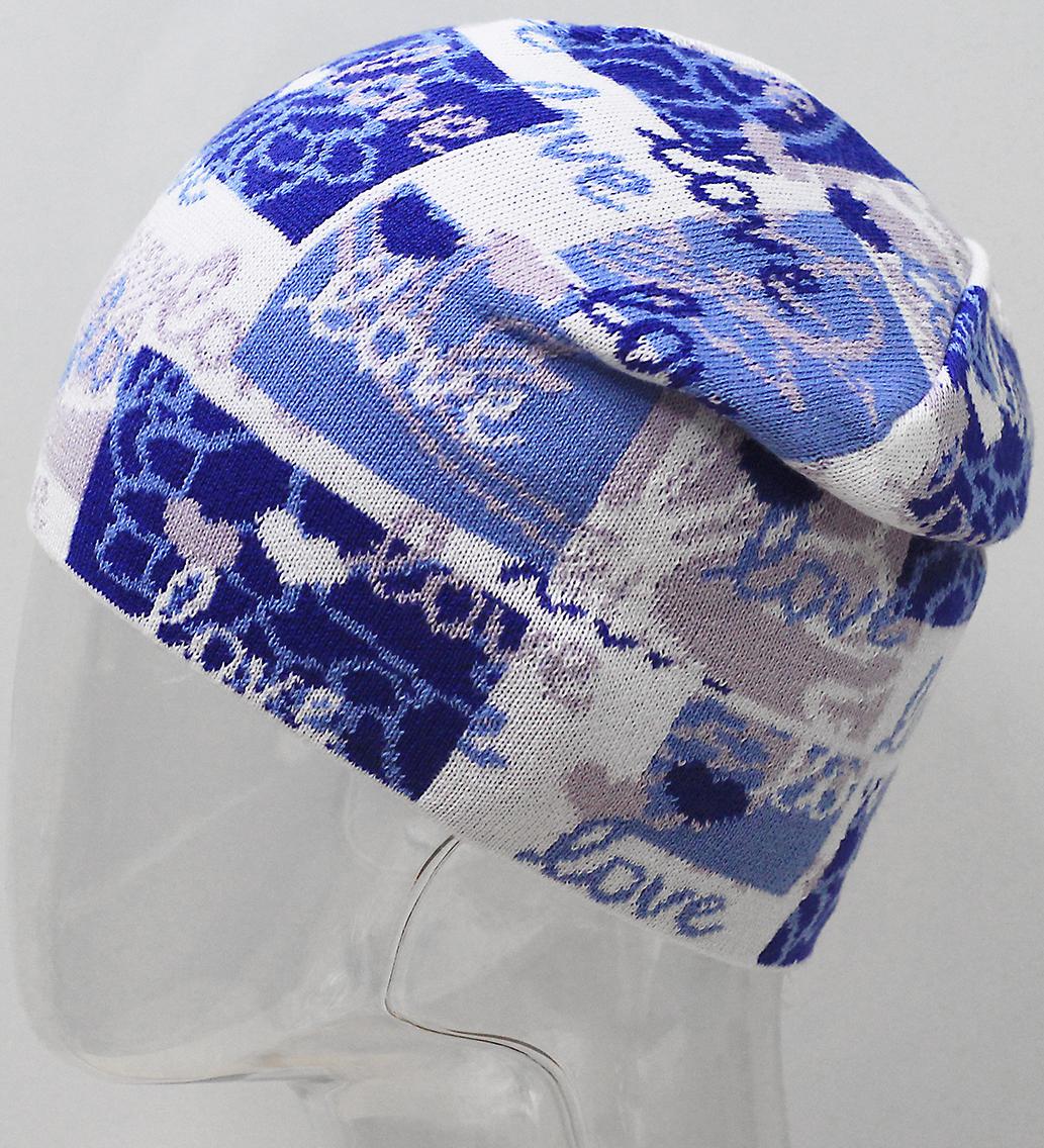 Шапка для девочки Marhatter, цвет: синий. MFH7300. Размер 55/56MFH7300Стильная шапка с современным дизайном, выполненная из хлопка. Сочетание цветов в оригинальном жаккардовом узоре. Такая модель дополнит образ современной молодежи. Размер, доступный для заказа, является обхватом головы.