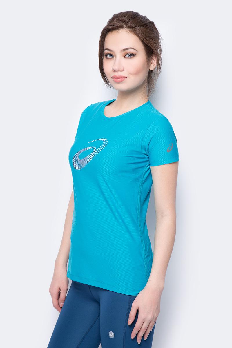 Футболка женская Asics Graphic SS Top, цвет: бирюзовый. 134105-8098. Размер M (46) scoop neck graphic tank top
