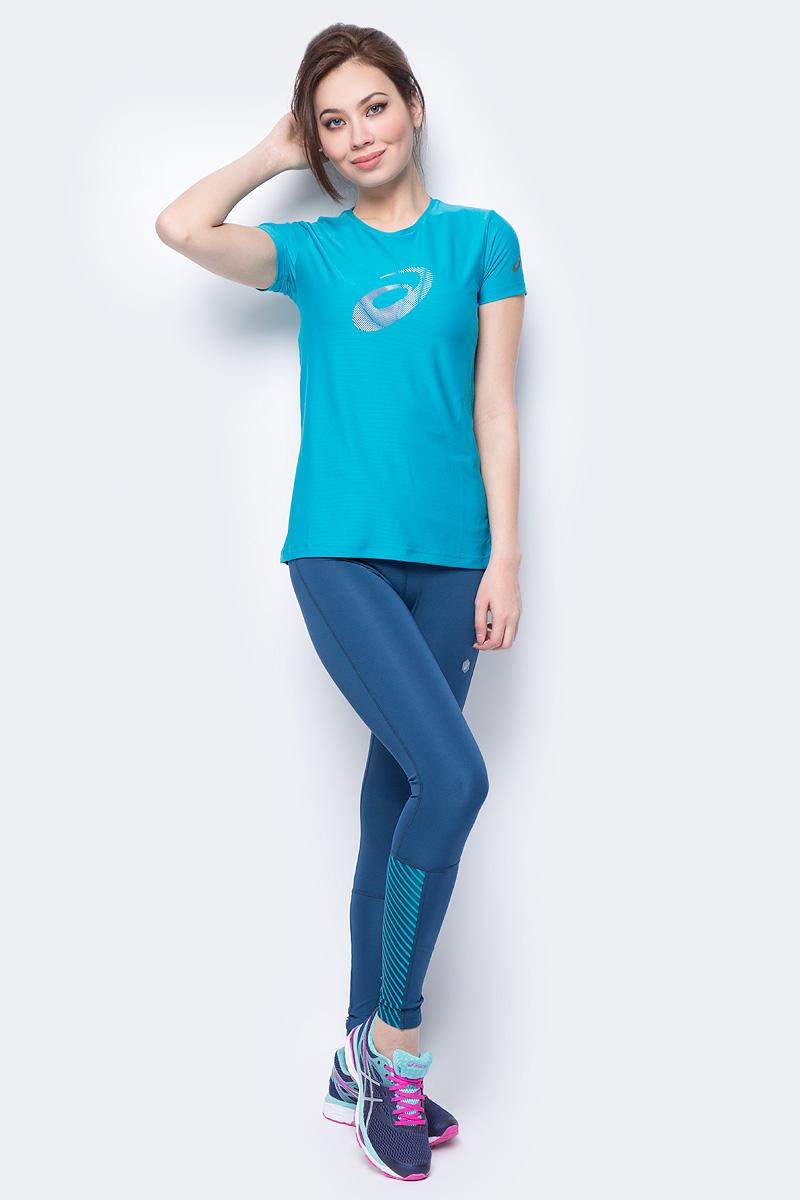 Футболка женская Asics Graphic SS Top, цвет: бирюзовый. 134105-8098. Размер XS (42)134105-8098