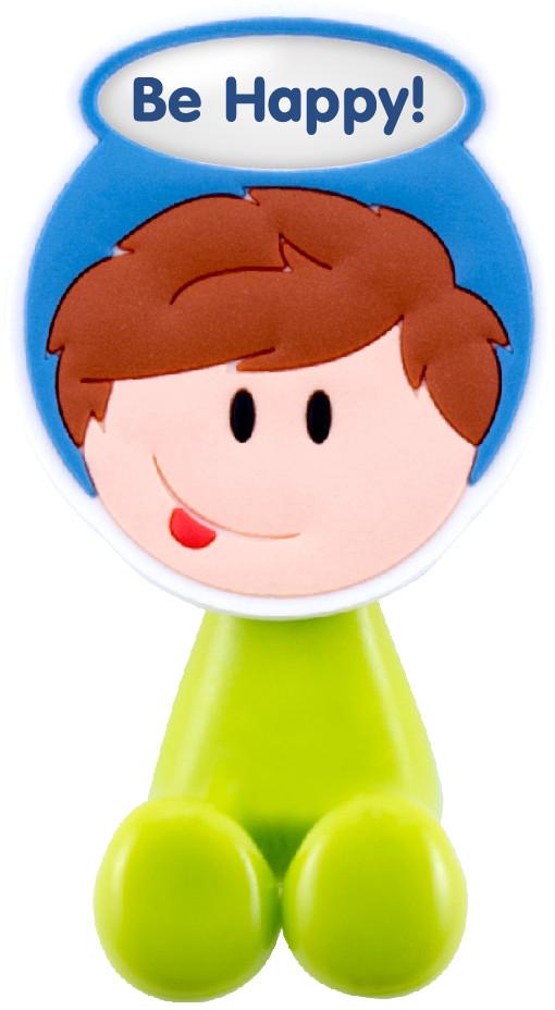 Держатель для зубной щетки Би-Хэппи - это яркий, оригинальный и практичный аксессуар, выполнен в виде мультяшных мальчишек и девчонок,  от которых будут в восторге не только дети, но и взрослые.  Разместив в своей ванной комнате держатели для зубных щеток Би-Хэппи, вы получите массу плюсов, к примеру:  - зубная щетка каждого из членов семьи будет иметь свое место;  - гигиенические свойства личного аксессуара будут сохранены на длительный период времени;  - обстановка в комнате станет позитивней;  - держатель крепится с помощью присоски, поэтому в любой момент, при желании, его можно переместить в другое место;  - малыш будет с удовольствием выполнять рутинные гигиенические процедуры.  Держатель для зубной щетки Би-Хэппи  станет отличным подарком для большой и крепкой семьи, символизируя своим внешним видом  сплоченность, дружбу и любовь.