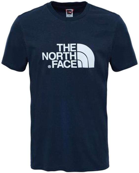 Футболка мужская The North Face M S/S Easy Tee, цвет: синий. T92TX3M6S. Размер L (52)T92TX3M6SФутболка The North Face M S/S Easy Tee из 100% хлопка — отличный выбор как для приключений на улице, так и для отдыха дома. Особой стильности этому элементу базового гардероба придает эффектный принт спереди и сзади.