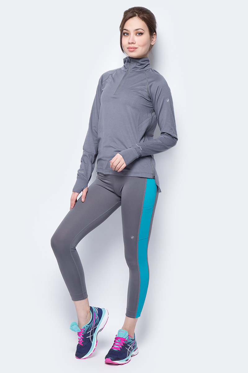 Футболка с длинным рукавом женская Asics Thermopolis Ls 1/2 Zip, цвет: серый. 154547-7023. Размер XS (42) лонгслив мужской asics ls 1 2 zip jersey цвет темно синий 154589 1273 размер xl 50
