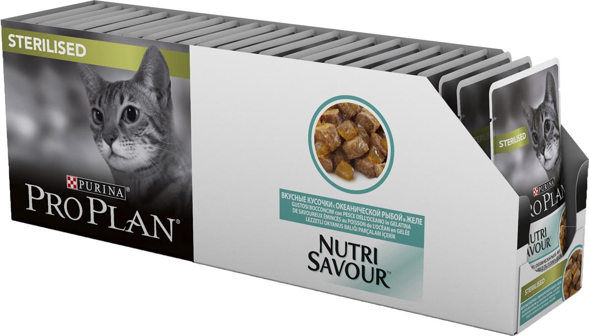 Корм консервированный Pro Plan, для стерилизованных кошек, с океанической рыбой, желе, 24 шт x 85 г корм консервированный pro plan для взрослых кошек с идейкой желе 24 шт x 85 г