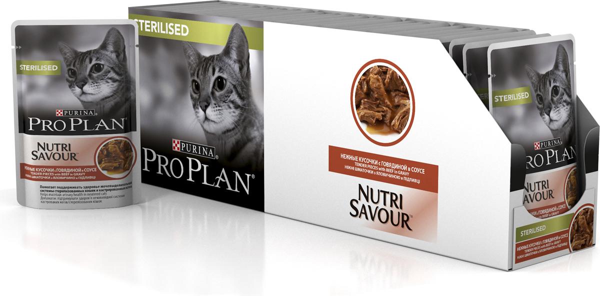 Корм консервированный Pro Plan, для стерилизованных кошек, с уткой в соусе, 24 шт x 85 г корм консервированный pro plan для взрослых кошек с идейкой желе 24 шт x 85 г