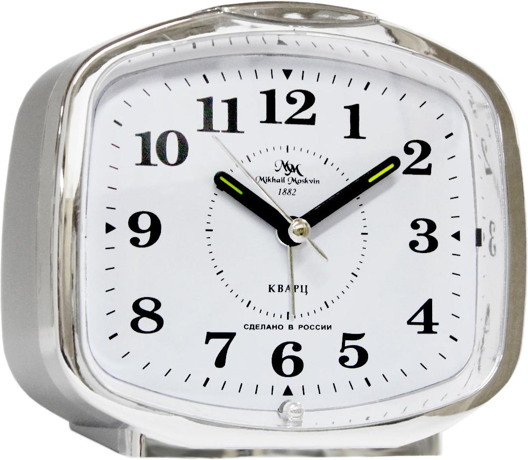 Будильник кварцевый Mikhail Moskvin, цвет: серебристый. 382/3382/3Отечественный двухзвонковый будильник с надежным кварцевым механизмом - это не только функциональное устройство, но и оригинальный элемент декора, который великолепно впишется в интерьер вашего дома.Возможность выбора звонка: электронного или механического. Будильник снабжен четырьмя стрелками: часовой, минутной, секундной и стрелкой завода.