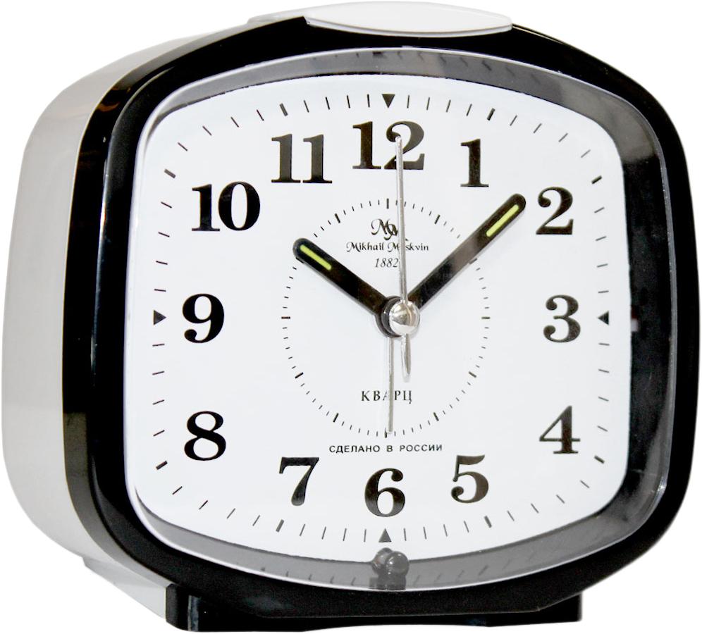 Будильник кварцевый Mikhail Moskvin, цвет: черный. 382/4382/4Отечественный двухзвонковый будильник с надежным кварцевым механизмом - это не только функциональное устройство, но и оригинальный элемент декора, который великолепно впишется в интерьер вашего дома. . Возможность выбора звонка: электронного или механического. Он снабжен четырьмя стрелками: часовой, минутной, секундной и стрелкой завода.