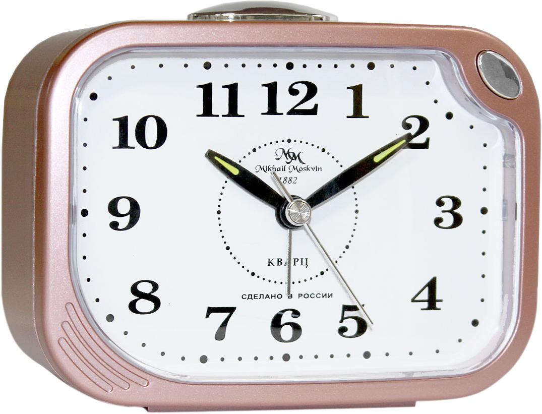 Будильник кварцевый Mikhail Moskvin, цвет: розовый. 398/10398/10Отечественный двухзвонковый будильник с надежным кварцевым механизмом - это не только функциональное устройство, но и оригинальный элемент декора, который великолепно впишется в интерьер вашего дома. . Возможность выбора звонка: электронного или механического. Он снабжен четырьмя стрелками: часовой, минутной, секундной и стрелкой завода.