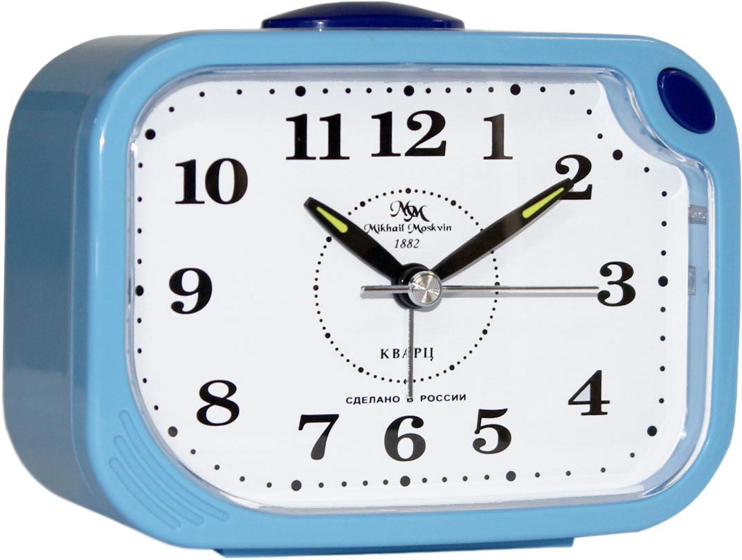 Будильник кварцевый Mikhail Moskvin, цвет: голубой. 398/2398/2Отечественный двухзвонковый будильник с надежным кварцевым механизмом - это не только функциональное устройство, но и оригинальный элемент декора, который великолепно впишется в интерьер вашего дома.Возможность выбора звонка: электронного или механического. Будильник снабжен четырьмя стрелками: часовой, минутной, секундной и стрелкой завода.