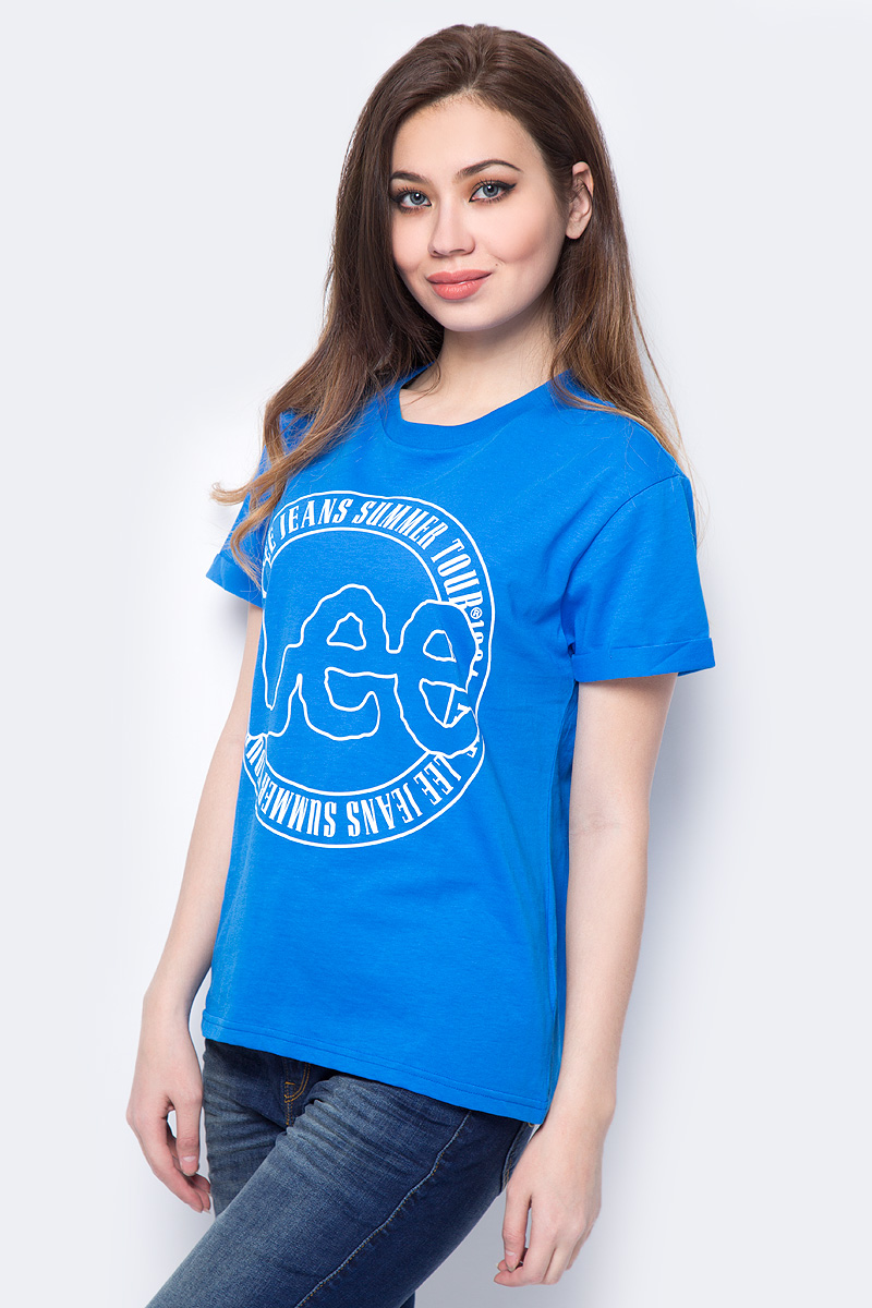Футболка женская Lee, цвет: синий. L41IAIEG. Размер XS (40) футболка женская lee цвет белый черный l41erweh размер xs 40