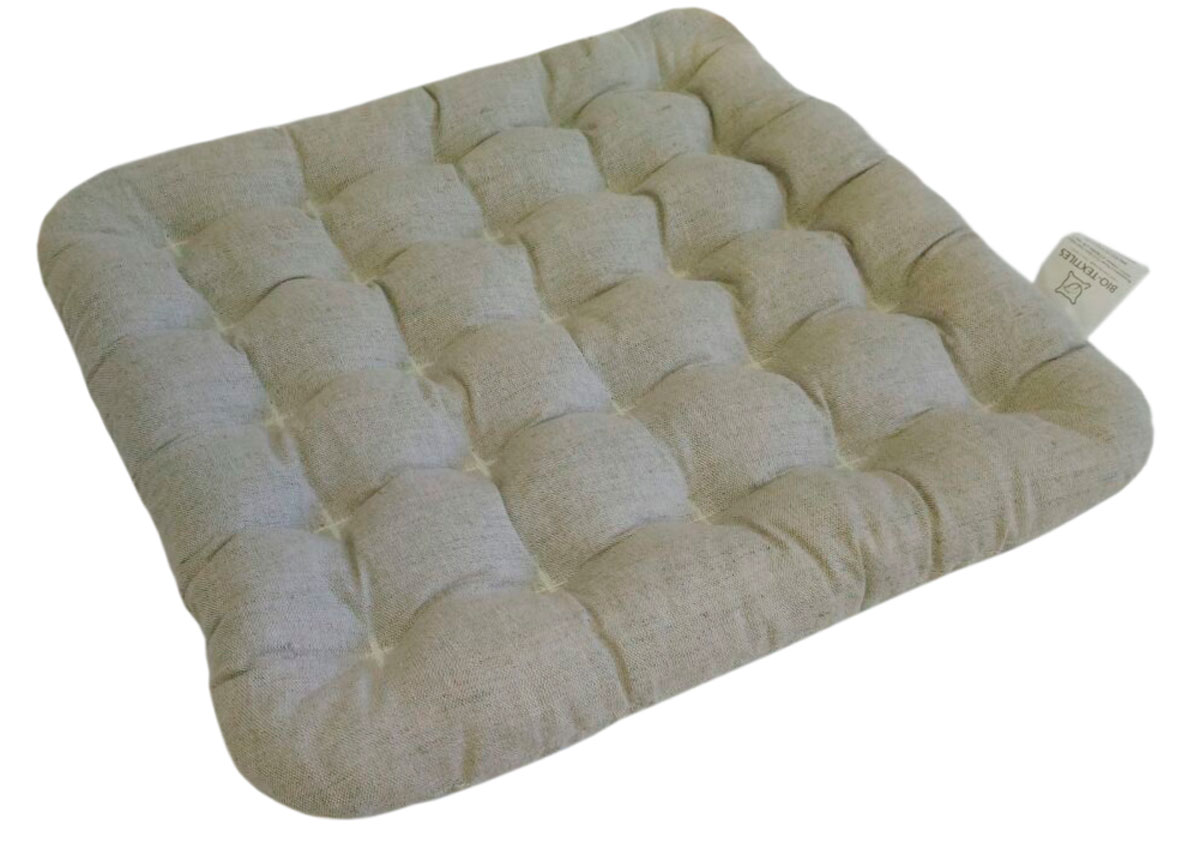 "Подушка на стул Bio-Textiles ""Био-Naturel"", наполнитель: лузга гречихи, чехол: лен, цвет: бежевый, 40 х 40 см. PEK002"