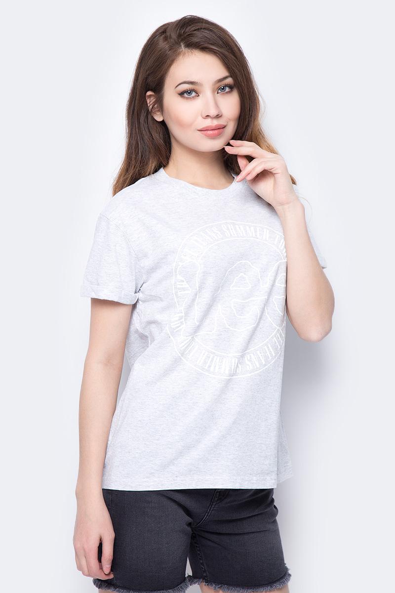Футболка женская Lee, цвет: серый. L41IAI03. Размер XS (40) футболка женская lee цвет белый черный l41erweh размер xs 40