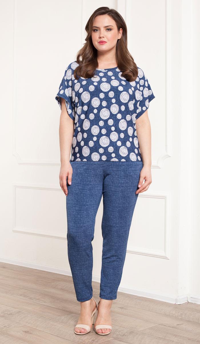 Комплект домашний женский Cleo: брюки, футболка, цвет: джинс. 713. Размер 58 блузки и рубашки