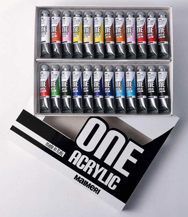 Набор акриловых красок Maimeri One, 24 цвета, 20 мл1098024Акриловые краски Maimeri One отличаются идеальным соотношением смолы и пигмента, и отлично подойдут для начинающих художников и студентов. Краски на водной основе, легко смешивающиеся друг с другом. При высыхании образует полупрозрачную глянцевую поверхность. Очень хорошо ложится на бумагу, картон и холст.