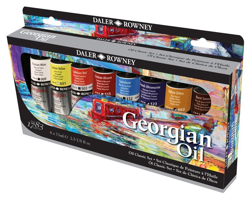 Daler Rowney Набор масляных красок Georgian GOC Classic Set 8 цветов 75 мл111900400Хорошо ложится, дает четкую структуру мазка, отлично смешивается между собой и обладают высоким содержанием пигментов. При изготовлении краски пигменты тщательно перетираются, так, что сохраняется качество и текстура, при этом достигается максимально возможная яркость и насыщенность цвета.