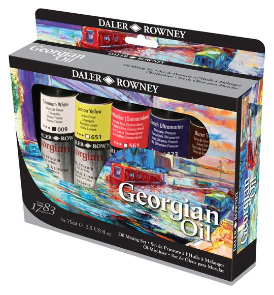 Daler Rowney Набор масляных красок Georgian GOC Mixing Set 5 цветов 75 мл111900450Набор масляных красок станет прекрасным подарком любителю рисования.Отличительные черты красок:- хорошо ложатся,- дают четкую структура мазка,- отлично смешиваются между собой,- обладают высоким содержанием пигмента.При изготовлении краски пигменты тщательно перетираются, так, что сохраняется качество и текстура, при этом достигается максимальновозможная яркость и насыщенность цвета.