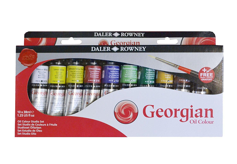 Daler Rowney Набор масляных красок Georgian GOC Studio Set 10 цветов 38 мл111938910Хорошо ложится, дает четкую структуру мазка, отлично смешивается между собой и обладают высоким содержанием пигментов. При изготовлении краски пигменты тщательно перетираются, так, что сохраняется качество и текстура, при этом достигается максимально возможная яркость и насыщенность цвета.