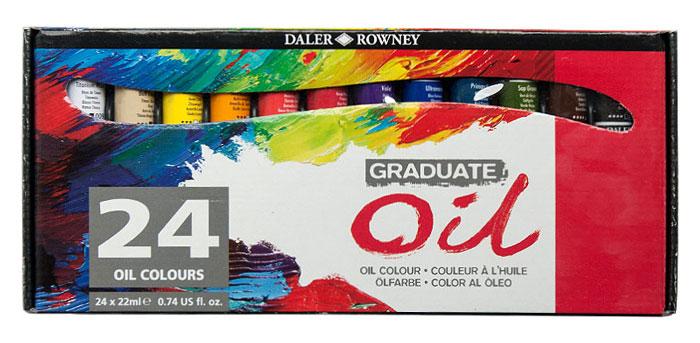 Daler Rowney Набор масляных красок Graduate 24 цвета 22 мл117522024Данный набор масляных красок содержит 24 тюбика масляной краски по 22 мл. Масляные краски Graduate традиционно изготовлены с мягкой масляной консистенцией и высокой нагрузкой пигмента. Они предлагают отличную возможность чистоты цвета и легко смешиваются. Все цвета высыхают до однородного глянцевого атласа, блестящего в течение четырех-пяти дней. Уникальная формула рафинированного льняного масла и современных сушильных средств создает масляные краски, которые легко выжимаются из трубки и легко смешиваются на палитре.