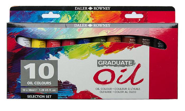 Daler Rowney Набор масляных красок Graduate Selection Set 10 цветов 38 мл117900100Данный набор масляных красок содержит 10 тюбиков масляной краски по 38 мл. Масляные краски Graduate традиционно изготовлены с мягкой масляной консистенцией и высокой нагрузкой пигмента. Они предлагают отличную возможность чистоты цвета и легко смешиваются. Все цвета высыхают до однородного глянцевого атласа, блестящего в течение четырех-пяти дней. Уникальная формула рафинированного льняного масла и современных сушильных средств создает масляные краски, которые легко выжимаются из трубки и легко смешиваются на палитре.