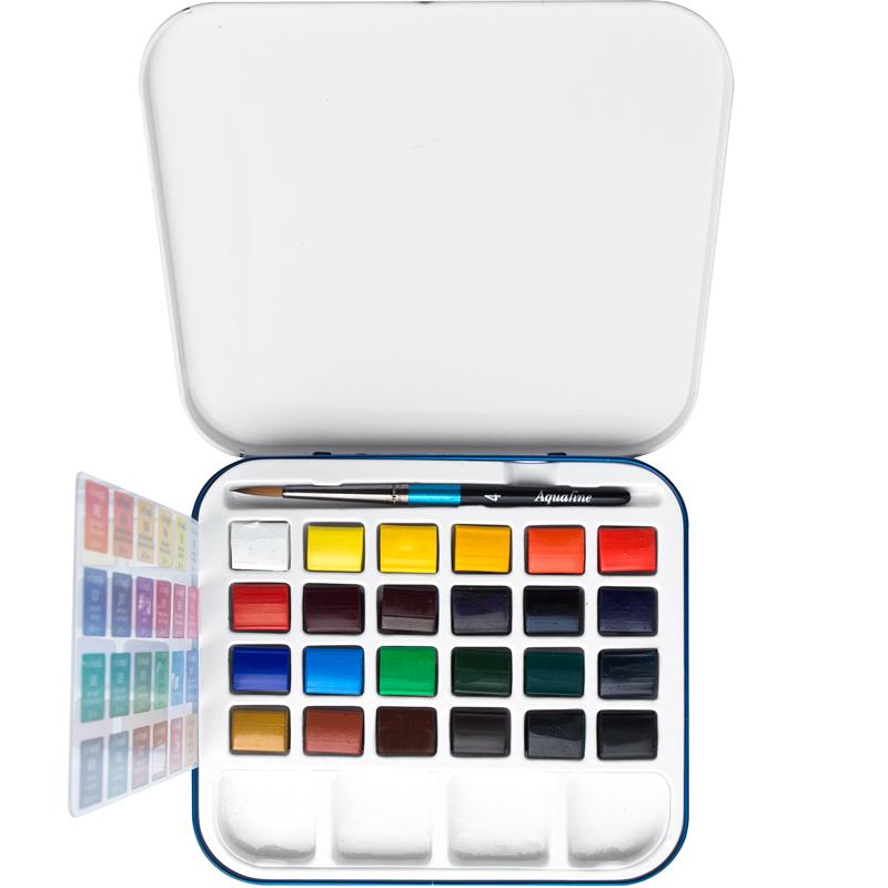 Daler Rowney Дорожный набор акварельных красок Aquafine 24 цвета131900924Обладают хорошей светостойкостью и отличной растекаемостью, идеально подходящей для студентов и любителей акварельной живописи. Обеспечивают насыщенный, прозрачный цвет с отличной светостойкостью и рабочими свойствами.