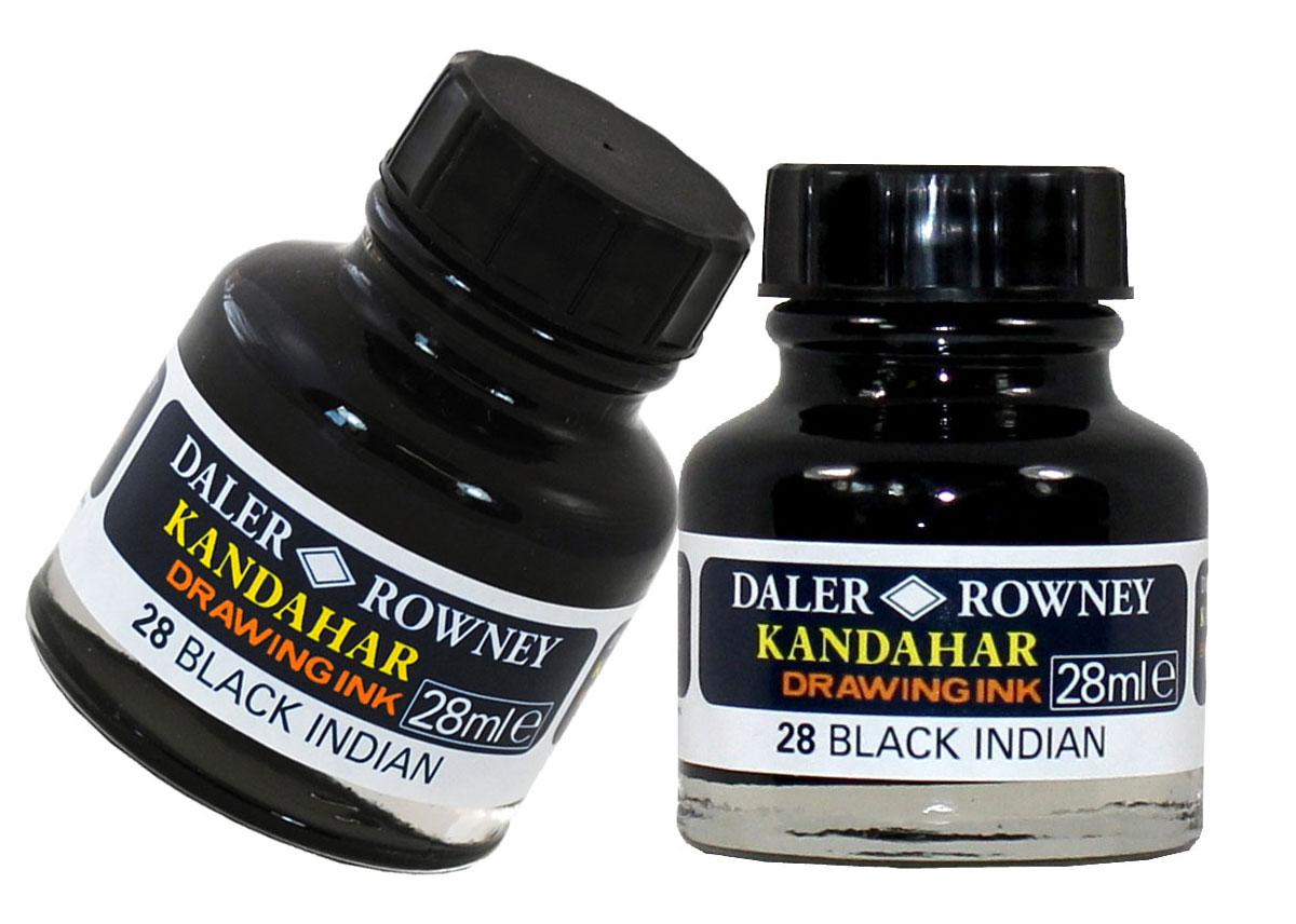Daler Rowney Тушь Kandahar цвет черный 28 мл144028028Тушь Kandahar прекрасно подойдет для иллюстраций, для смешанных техник с акварелью.Цвет: черный.Невероятно светостойкий цвет, который легко работает с ручками, аэрографами или перьями.
