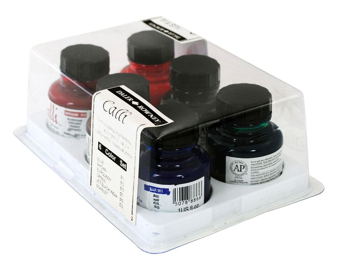 Daler Rowney Набор чернил для каллиграфии Calligraphy 6 цветов 29,5 мл604300010Отличный набор акриловых чернил для каллиграфии сочных цветов. Водостойкие чернила, отлично смешиваемые между собой, обладающие высокой светостойкостью.