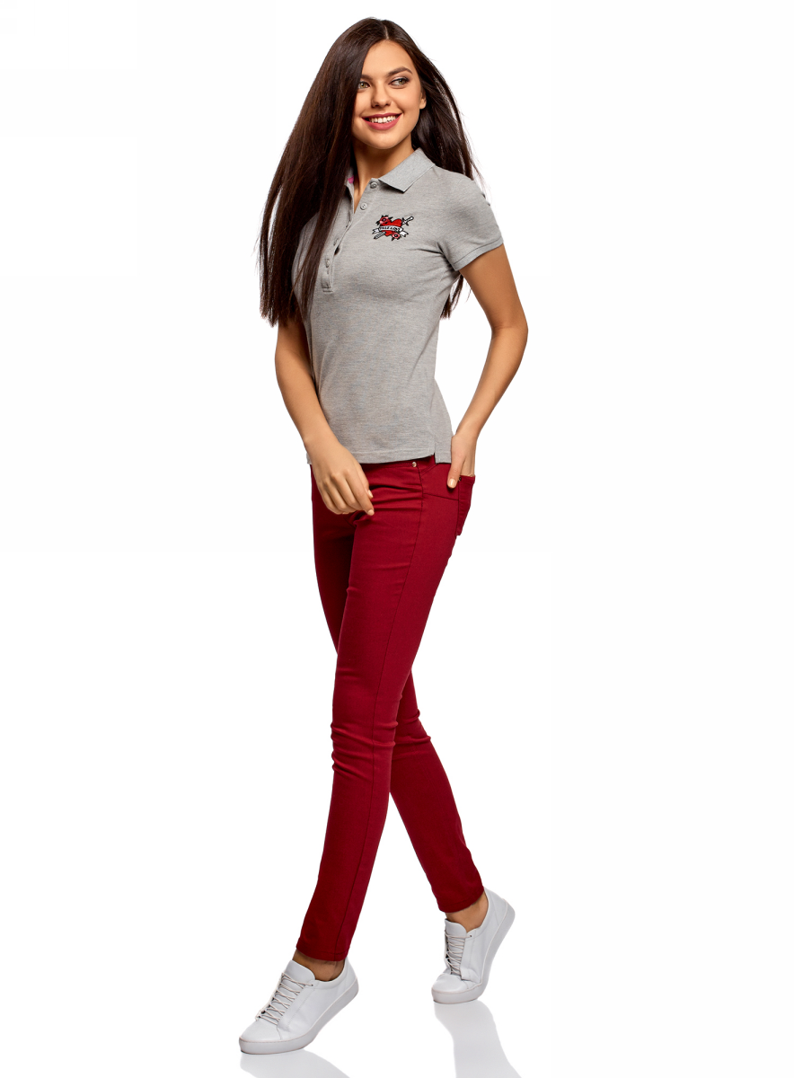 Поло женское oodji Ultra, цвет: серый. 19301001-8/46161/2300Z. Размер XL (50)19301001-8/46161/2300ZПоло от oodji выполнено из ткани пике. Модель с короткими рукавами и отложным воротником на груди застегивается на пуговицы.