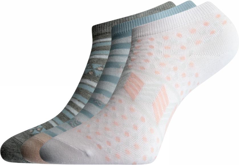Носки женские oodji Ultra, цвет: белый, голубой, 3 пары. 57102462T3/47213/1070G. Размер 35/37 jd коллекция светло телесный 12 пар носков 15d две кости размер
