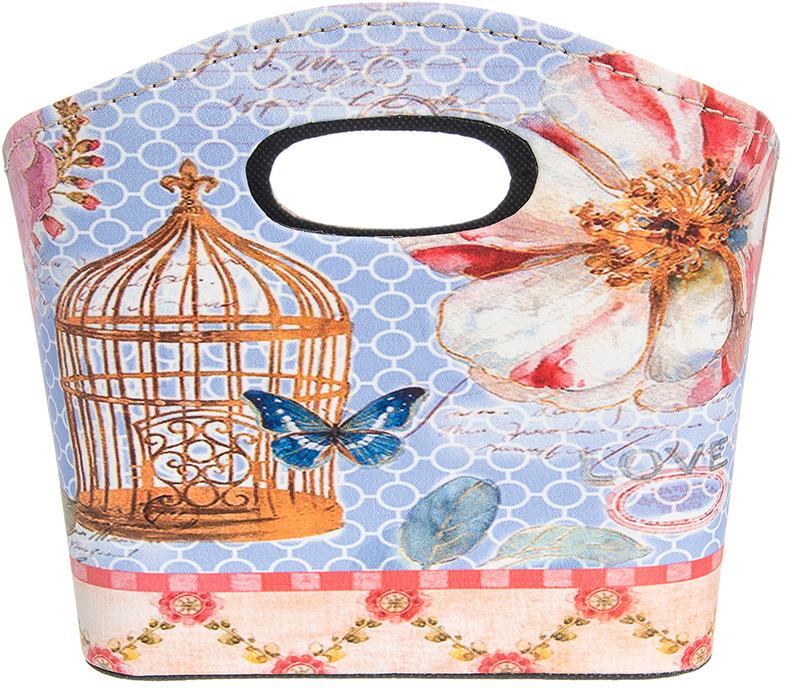Сумочка интерьерная для хранения El Casa Дикая роза с клеткой и бабочкой, 20 х 11 х 16 см el casa косметичка сумочка розовая с узором