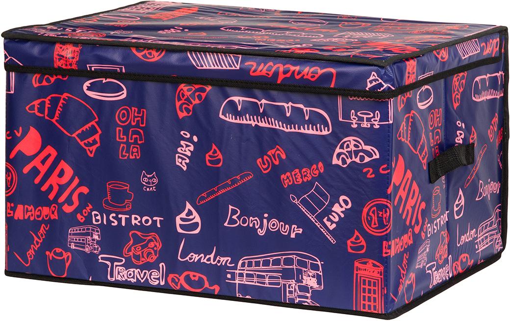Кофр для хранения вещей El Casa Европа, складной, цвет: фиолетовый, темно-синий, 50 х 40 х 30 см370344Кофр с жестким каркасом для хранения. Благодаря специальным вставкам, кофр прекрасно держит форму, а эстетичный дизайн гармонично смотрится в любом интерьере. В нем можно хранить всевозможные предметы: книги, игрушки, рукоделие. Для удобства крышка и 2 ручки.