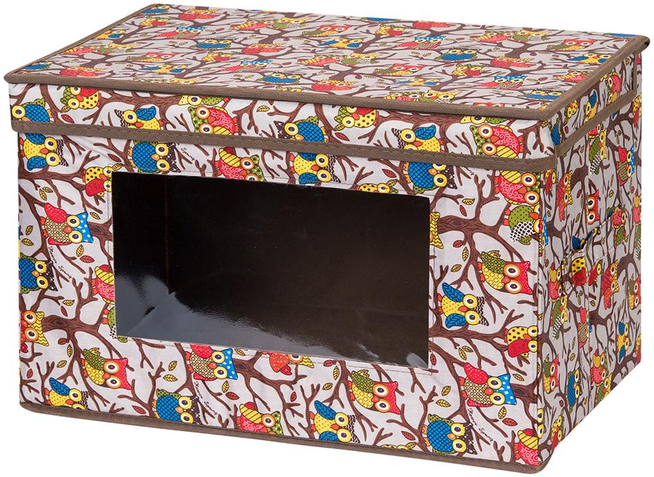 Кофр для хранения вещей El Casa Совы, складной, цвет: серебристый, 38 х 25 х 25 см кофр для хранения el casa соты складной цвет зеленый 40 x 30 x 25 см