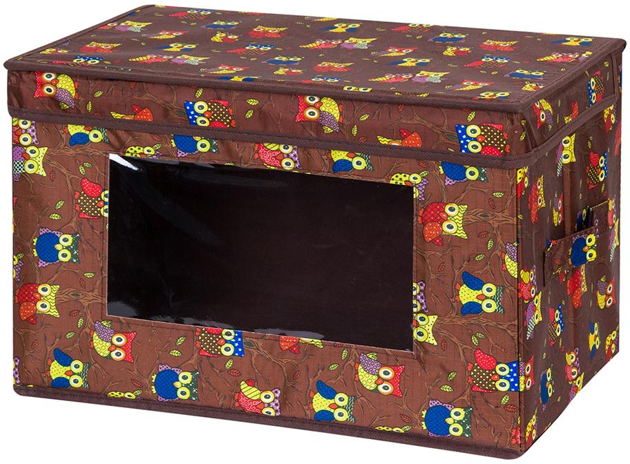 Кофр для хранения вещей El Casa Совы, складной, цвет: коричневый, 38 х 25 х 25 см370367Вместительный кофр для хранения одежды и домашнего текстиля. Прозрачная вставка позволяет видеть содержимое кофра. Для удобства в обращении по бокам имеются ручки. Благодаря эстетичному дизайну кофр гармонично смотрится в любом интерьере. Размер 38х25х25 см.