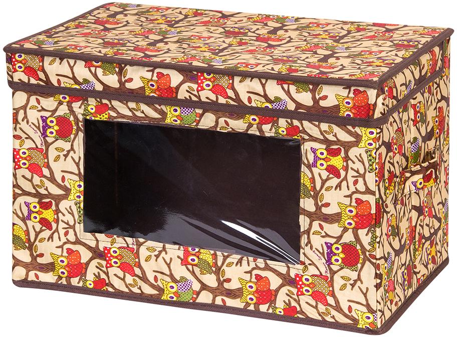 Кофр для хранения вещей El Casa Совы, складной, цвет: бежевый, 38 х 25 х 25 см кофр для хранения el casa звезды складной цвет розовый 40 x 30 x 25 см