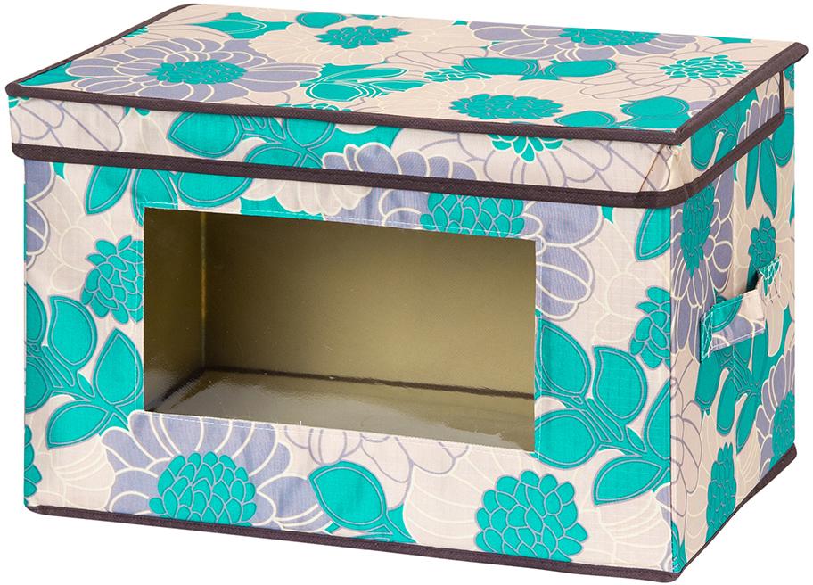 Кофр для хранения вещей El Casa Цветочное поле, складной, цвет: бирюзовый, 38 х 25 х 25 см лонгслив playtoday playtoday mp002xg00740