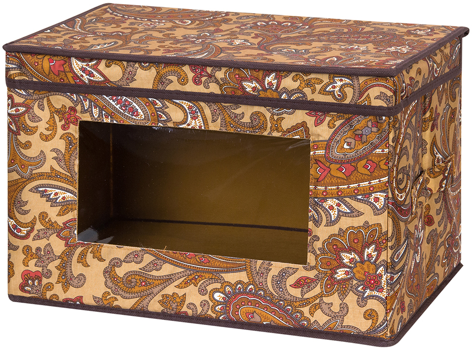 Кофр для хранения вещей El Casa Перо павлина, складной, цвет: коричневый, 38 х 25 х 25 см370371Вместительный кофр для хранения одежды и домашнего текстиля. Прозрачная вставка позволяет видеть содержимое кофра. Для удобства в обращении по бокам имеются ручки. Благодаря эстетичному дизайну кофр гармонично смотрится в любом интерьере.