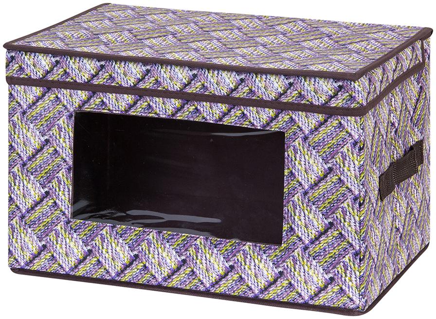 Кофр для хранения вещей El Casa Плетенка, складной, 38 х 25 х 25 см кофр для хранения el casa звезды складной цвет розовый 40 x 30 x 25 см