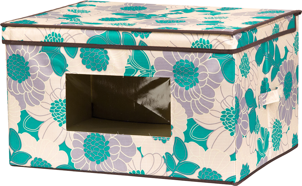 Кофр для хранения вещей El Casa Цветочное поле, складной, цвет: бирюзовый, 50 х 40 х 30 см