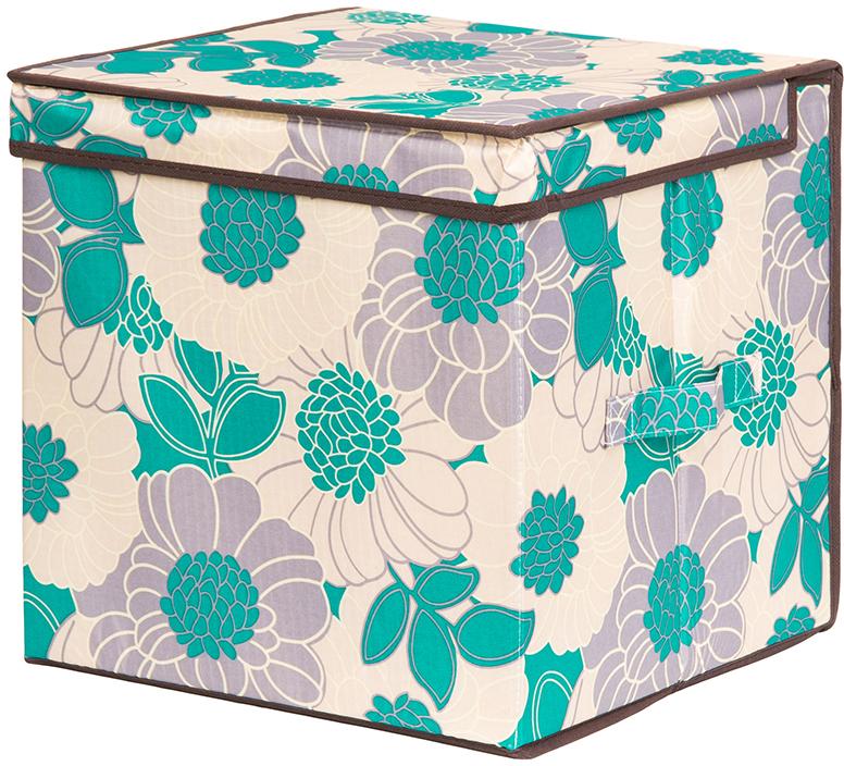 Кофр для хранения вещей El Casa Цветочное поле, складной, цвет: бирюзовый, 31 х 31 х 31 см система хранения el casa el casa mp002xu0duyn