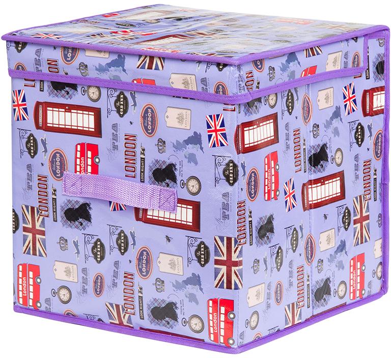 Кофр для хранения вещей El Casa Красочный Лондон, складной, цвет: сиреневый, 31 х 31 х 31 см 31 век el 1015