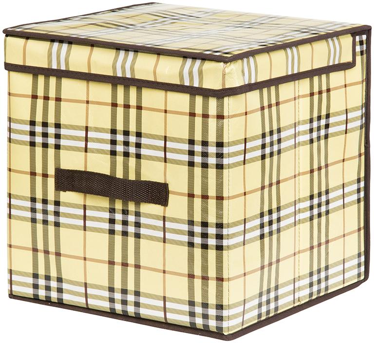 Кофр для хранения вещей El Casa Шотландка, складной, цвет: бежевый, 31 х 31 х 31 см